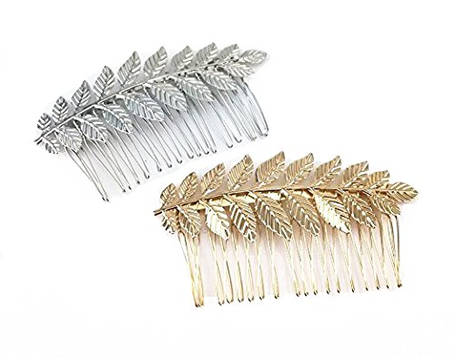 Leaf Comb - yueton 2pcs Gold and Silver Leaf Olive Branch Leaves Fashion Ladies Bride Wedding Hair Combs Headdress Hair Pins