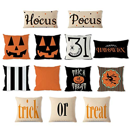 (13 Packs Halloween Throw Pillow Covers Decorative Coshion Cover Solid Pumpkin Stripe Square Rectangle Soft Cotton Pillowcases Home Decor Couch Covers with Zipper, Halloween Pillowcovers)