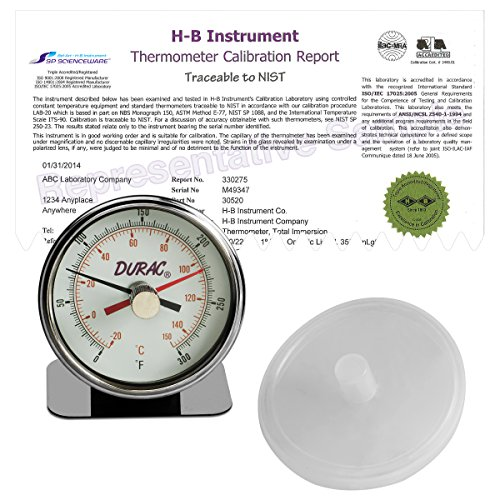 H-B DURAC Maximum Registering/Autoclave Bi-Metal Thermometer; -20 to 150C (0 to 300F), Individual Calibration Report (B60215-0000)