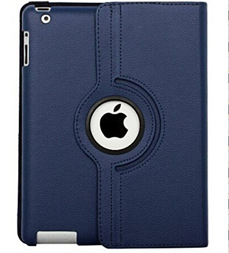 Ipad Case 360 Degrees Rotating Stand Leather Magnetic Smart Cover Case for Ipad 2/ 3/4 Generation Case with Bonus Screen Protector, Stylus and Cleaning Cloth ( Royal Blue)
