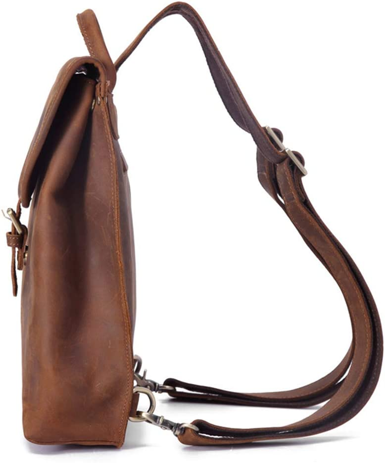 AINiubia Ladies Shoulder Bag Retro Travel Leather Backpack Head Layer Crazy Horse Skin