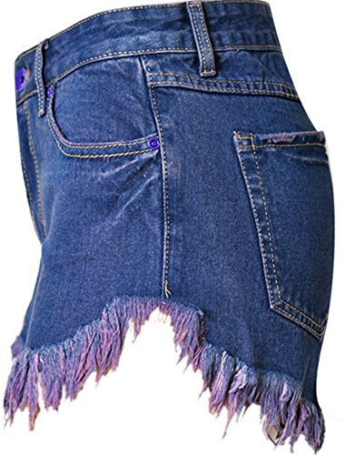 Bestfort Damen Jeans-Shorts Sommer Hot Pants Hohe Niet Taille Wäschedenimshorts Löcher Baumwolle Holiday Casual Jeansshorts Dunkel Blau