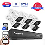 [2019 New] Security Camera System 1080P,SAFEVANT 1080P PoE Home Security Camera System with 6 x Bullet Wired Outdoor 1080P PoE IP Cameras,8 Channel PoE NVR System w/ 1TB Hard Drive for 7/24 Recording