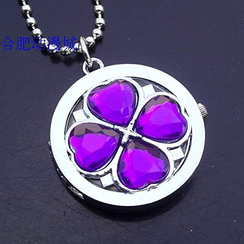 (shugo chara necklace pendant chain pocket watch flower asian dream anime variety colors (purple)