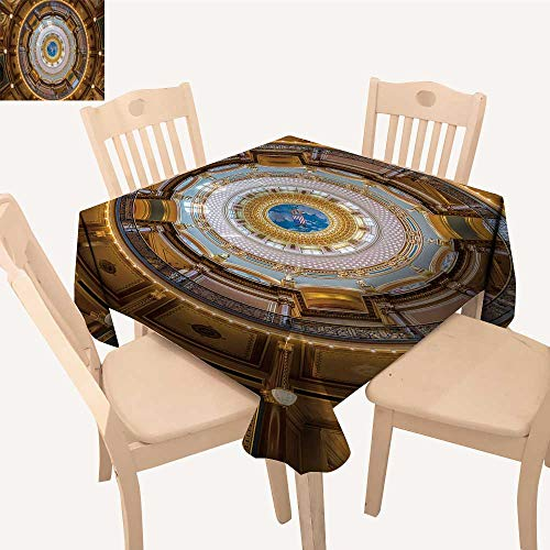 UHOO2018 Polyester Fabric Tablecloth Square/Rectangle des Moines Iowa July Inner Dome The Iowa State Capitol on July in des Moines Summer & Outdoor Picnics,52x 57 inch -