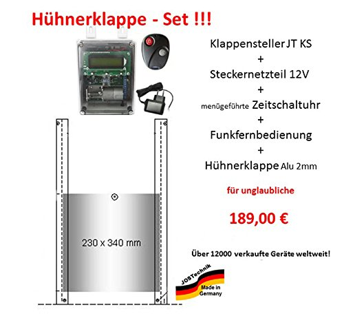 Automatische Hühnerklappe + Steckernetzteil + Zeitschaltuhr + Funkfernbedienung + Klappe - Direkt vom Hersteller!