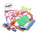 Dog Toys For Boredom Cotton Rope Active dental Chew Toys 10-Pack - Colors Vary