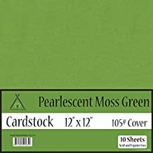 Pearl Shimmer Metallic Moss Green Cardstock - 12 x 12 inch - 105Lb Cover - 10 Sheets