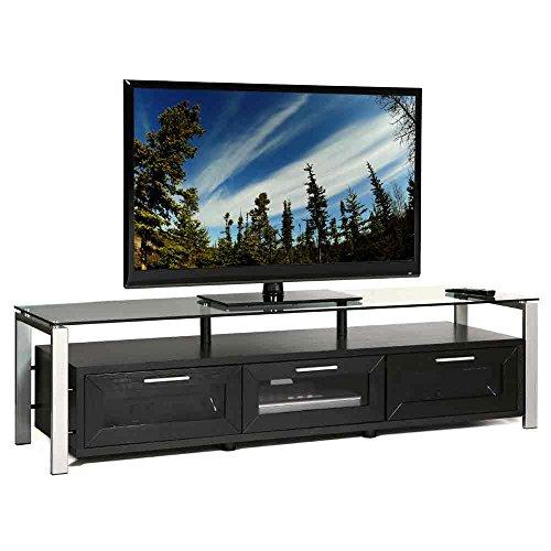 Plateau DECOR 71 BS Wood and Glass TV Stand, 71-Inch, Black Oak Finish -