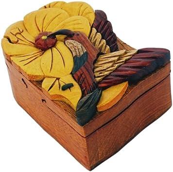 Caja secreta de madera joya joyeria intarsia hecha a mano con ...