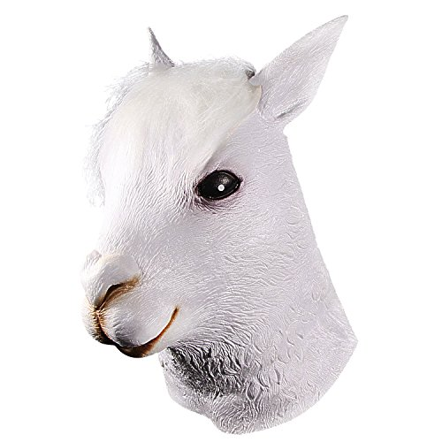 Alpaca Head Mask, Latex Cute White Llama Masks, Halloween Costume Party Novelty Animal Head -
