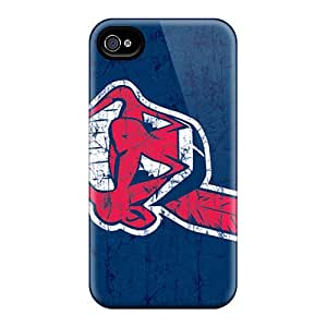 Durable Hard Phone Case For Iphone 4/4s With Support Your Personal Customized Stylish Cleveland Indians Pattern TimeaJoyce