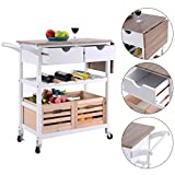 New Design Storage Drawer Basket Wine Rack Rolling Kitchen Trolley Island Cart Drop-leaf