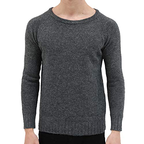(Men Casual Sweater Solid Color Slim Fit Knit Pullover Crewneck Long Sleeve Tops Outdoors Spring Fleece Warm Work Lightweight Round Neck Sweatshirt Sports Fishing Hiking Camping Hunting Elbow Corduroy Patch Business Base Daily Wear Coat(Grey, L))