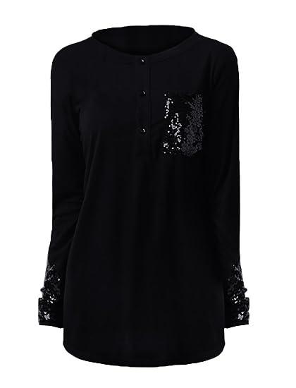 fdc0e866cf0 Beautife Women s Shirts Long Sleeve T-Shirt Patchwork Sequin Tops ...