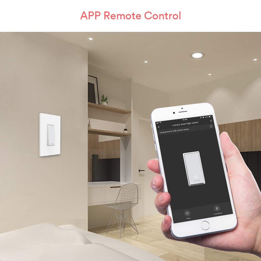 Lumary L-S100 Smart Light Switch with Wifi and Voice Control - Compatible with Alexa, Google Assistant, IFTTT (No Hub required)