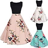 Women Vintage Dress,Leedford Ladies Fashion Floral Print Bodycon Sleeveless Evening Party Pleated Swing Dress with Belt (2XL, Black 3)