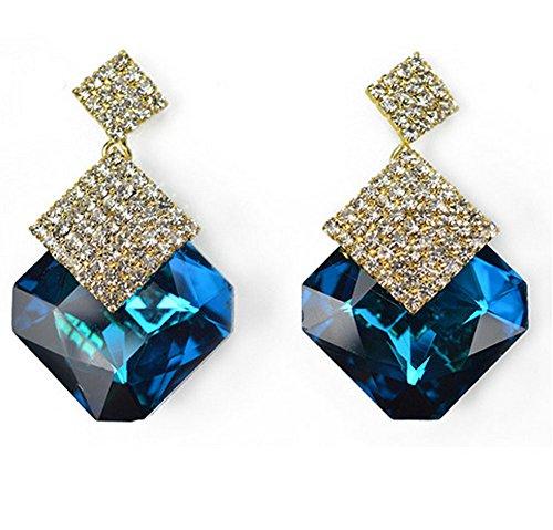 [Sunne New Style Elegant Jewelry Classic Diamond Crystal Drop Earrings(Royalblue)] (Homemade Elephant Costume Ears)