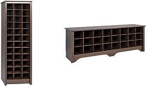 Prepac Shoe Storage Cabinet, 36 Pair Rack, Espresso & 24 Pair Shoe Storage Cubby Bench, Espresso