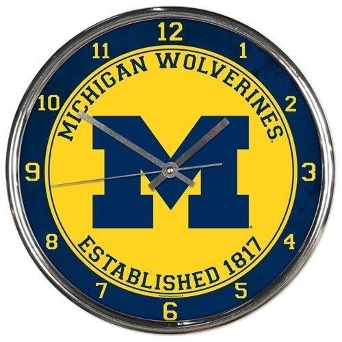 Michigan Wolverines Round Chrome Wall Clock (Wolverines Michigan Clock)