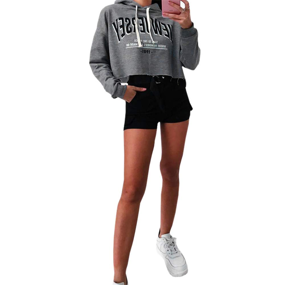 Kaxindeb Womens Funny Graphic Letter Print Drawstring Crop Tops Casual Cute Long Sleeve Lightweight Hoodies