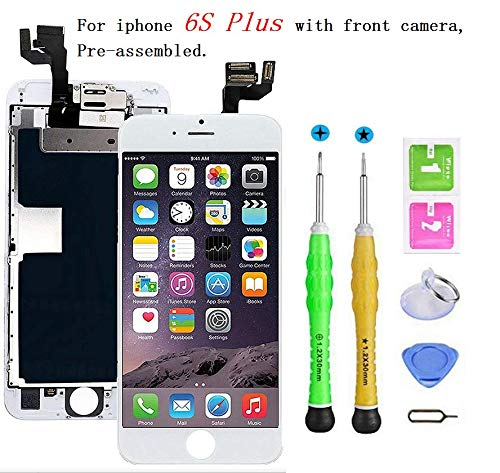 Screen Replacement Compatible with iPhone 6s Plus Full Assembly - LCD 3D Touch Display Digitizer with Sensors and Front Camera, Fit Compatible with iPhone 6s Plus (White)