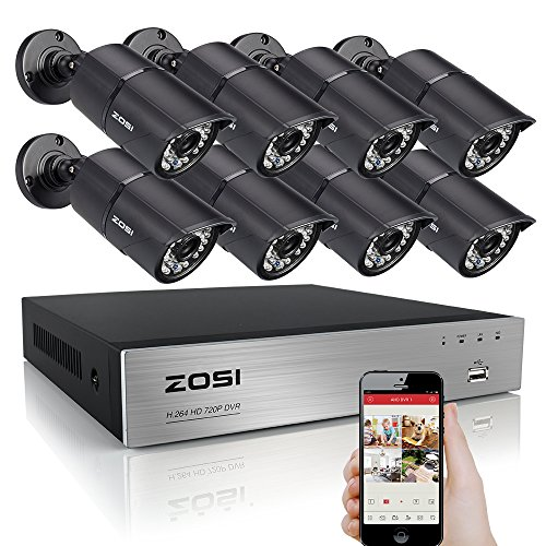 ZOSI 720P HD 8CH Video Security System with 8x 1280TVL Weatherproof Bullet Surveillance Camera NO Hard Drive ,36pcs IR Leds, 100ft(30m) Night Vision, Quick Remote Access Setup with Free App (Black)