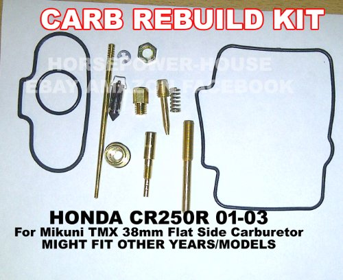 Carb Carburetor Rebuild Kit Gasket O Ring Main Pilot Slow Jet Needle Idle Air Screw Spring and more for Mikuni TMX38 38mm Flat Side MX Carb fits Honda CR250 CR250R 01 02 03 and Possibly Others