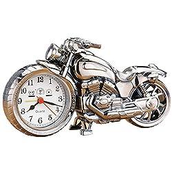 Collections Etc Retro Silver Motorcycle Alarm Clock