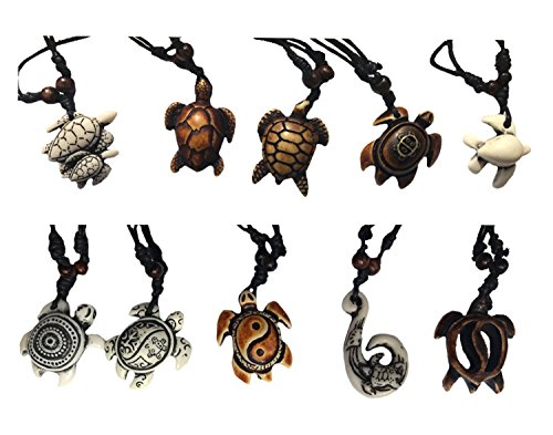 - Askana 10pcs Fashion Cute Sea Turtle Pendant Necklace Set with Adjustable Cotton Cord (Set 2)