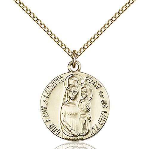 Gold Filled Our Lady of Loretto Pendant 3/4 x 5/8 inches with Gold Filled Lite Curb Chain by Bonyak Jewelry Saint Medal Collection