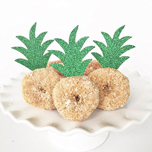 Pineapple Donut Cupacke Topper Glitter Green Cake Picks Hawaiian Luau Tropical Party Decoration Bridal Baby Shower Birthday Wedding Summer Theme