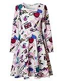 Jxstar Little Girl's Fashion Dress Print for Skater Lipstick Bag Pattern Long Sleeve Dress Beauty 130 Beauty Fall 6-7Years Height 48in