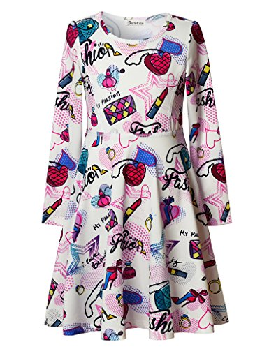 Jxstar Big Girl's Fashion Dress Print for Skater Lipstick Bag Pattern Long Sleeve Dress Beauty 150 Beauty Fall 10-11Years Height (Party City Costumes For Girls Age 11)