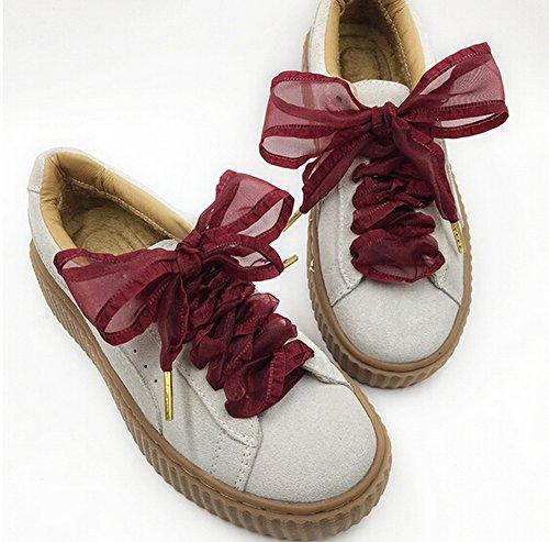 Set de 2 cordones de terciopelo cordones cordones de zapatos de moda 120 cm [Negro] multicolor 17