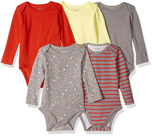 Hanes Ultimate Baby Flexy 5 Pack Long Sleeve Bodysuits, Yellow/Reds, 0-6 Months