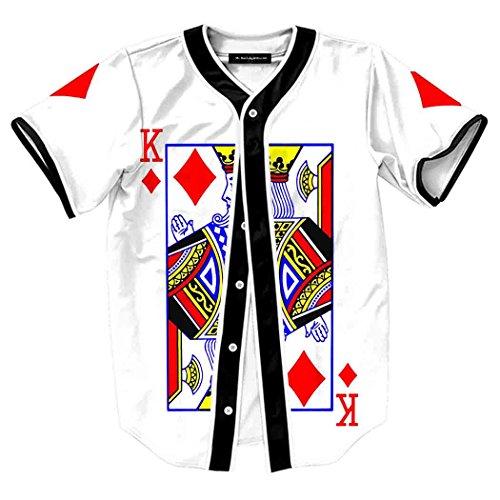 Pink Girls Cap Sleeve T-shirt (HOP FASHION Youth Unisex Boy Girl Baseball Jersey Short Sleeve 3D King of Heart Print Dance Team Uniform Tops Shirt HOPM007-22-L)
