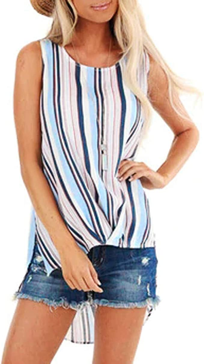 Dainzuy Womens Tunic Vest Blouse Knotted Tank Tops V-Neck Stripe Sleeveless Button Down Camisole Henley Shirts Blouse