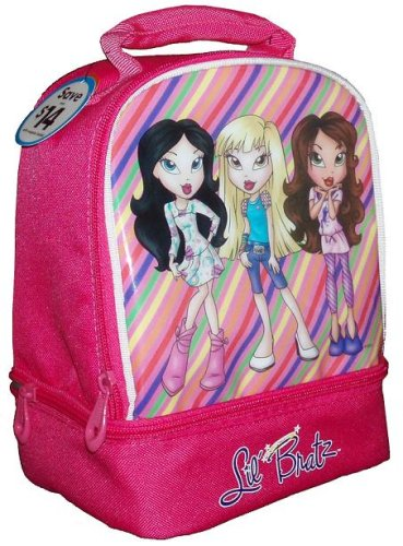 - MGA Lil Bratz Pink Color Soft Insulated Lunch Bag/Box with 2 Compartments
