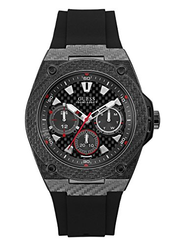 GUESS  Comfortable Black Stain Resistant Silicone Watch with Day, Date + 24 Hour Military/Int