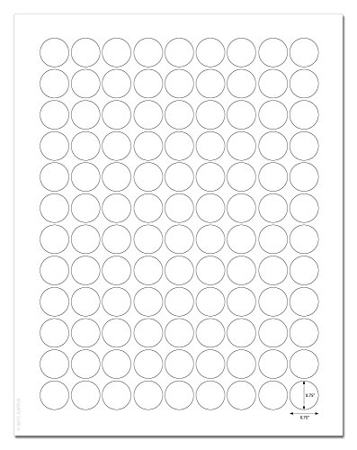 (Waterproof White Matte 0.75 inch Diameter Circle Labels for Laser Printers with Template and Printing Instructions, 5 Sheets, 540 Labels (JR75))