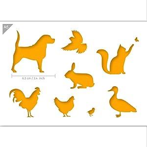 QBIX Farm Animals, Dog, Cat, Bird, Rabbit, Duck, Chicken Stencil - A5 Size - Reusable Kids Friendly DIY Stencil for Painting, Baking, Crafts, Wall, Furniture
