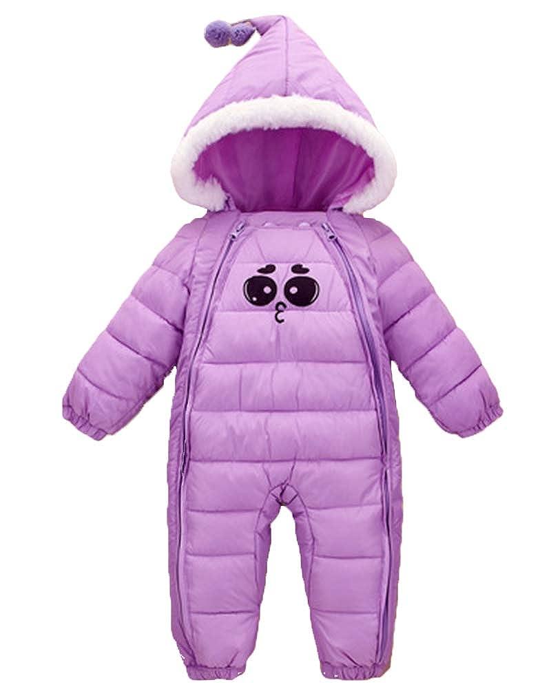 Newborn Unisex Baby Cute Hair Ball Expression Printing Snowsuit Jumpsuit Hooded Romper Zipper Onesie