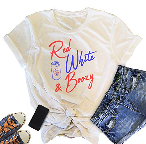 Women's Red White and Boozy Graphics T-Shirt 4th of July Drinking top USA Tee Size XL (White) ()