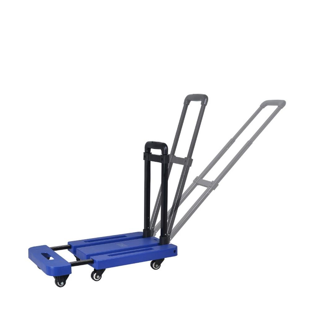 XYLUCKY LH-5 Mute Flatbed Trolley, Foldable Portable 6 Wheel Food Car Goods Car , blue