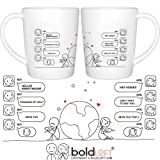 BOLDLOFT Wish You Were Here His and Hers Coffee Mugs- Long Distance Relationships Gifts, Long Distance Mugs, Valentines Gifts for Boyfriend for Girlfriend, LDR Gifts, His and Hers Couples Gifts