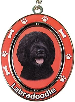 Black Labradoodle Key Chain Spinning Pet Key ChainsDouble Sided ...