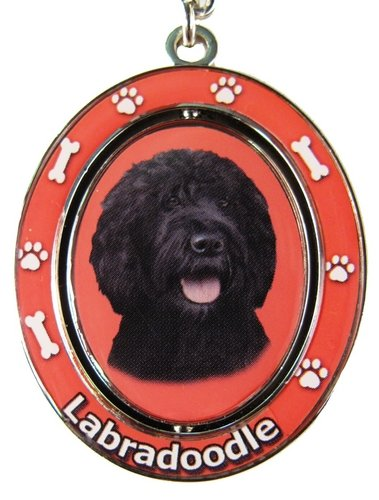 """Black Labradoodle Key Chain """"Spinning Pet Key Chains""""Double Sided Spinning Center With Black Labradoodles Face Made Of Heavy Quality Metal Unique Stylish Black Labradoodle Gifts"""