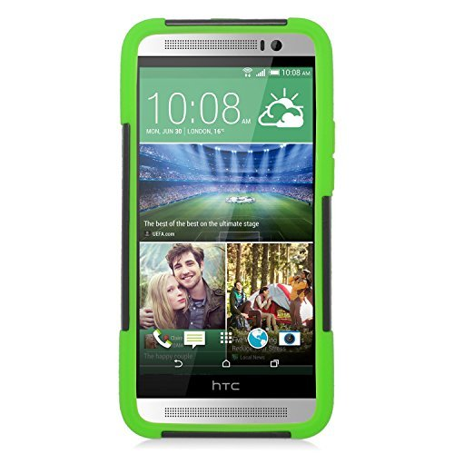 Eagle Cell Hybrid Protective Case with Stand for HTC One E8 - Retail Packaging - Green/Black (E8 One Case Htc Green)