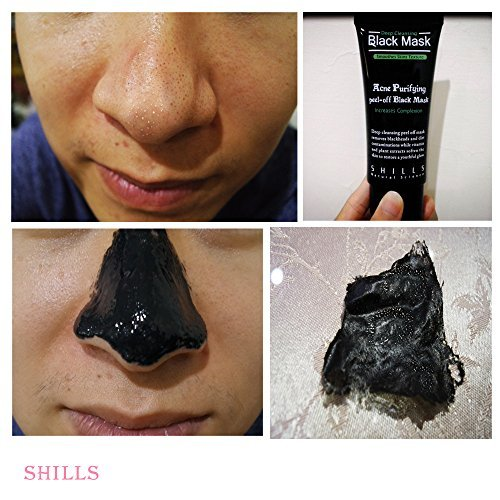 Charcoal Mask To Clear Pores And Detox Skin: SHILLS Blackhead, Wrinkles, Anti Acne Black Mask. Removes